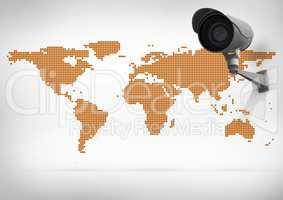Composite image of Security camera on white cream map background