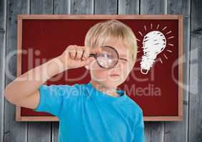 Composite image of kid looking for an idea against red tab and wood blackboard with lightbulb