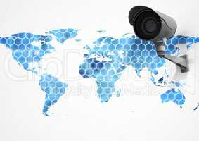 Composite image of Security camera on white and blue map