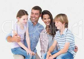 Parent and children smiling against a white background