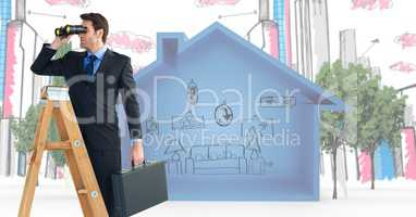 Composite image of Business man looking his objectives against a home and city picture