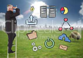Composite image of Businessman on a Ladder looking at his objectives against rural background