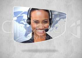 Composite image of Travel agent smiling against neutral background