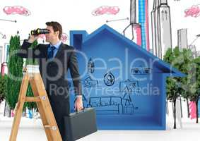 Composite image of Businessman on a Ladder looking at his objectives
