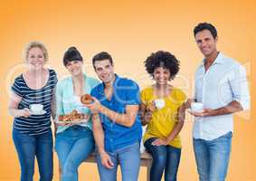 Happy group of people Eating donus against orange background