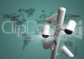 Composite image of Security cameras on green map with typography background
