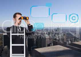 Composite image of Business man looking his objectives against a city background