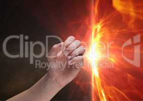 Composite image of Hand against Flames