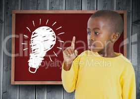 kid and blackboard with lightbulb against a wood background