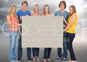 Young People group Holding Sign Board Happy Fun Bright background