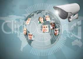 Composite Image of Security camera against blue map with globe background