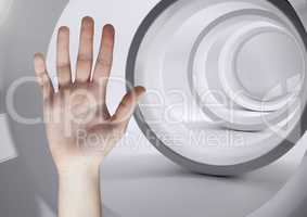 Composite image of open hand against futuristic tunnel
