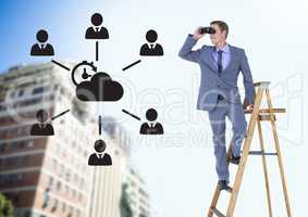 Composite image of Businessman on a Ladder looking at his objectives against city view