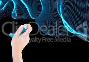 Composite image of Hand holding ashtma inhaler against blue curves