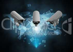Composite Image of a Security cameras against a dark blue map background