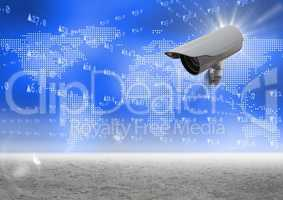 Composite Image of a Security camera against blue map with sand background