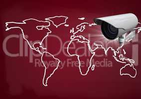 Composite image of Security camera against a red maroon map background