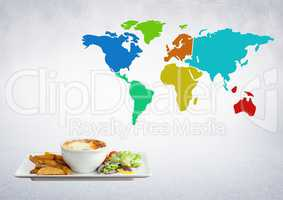 Composite image of World balanced meal against a world map background