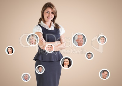 Businesswoman standing with Networking Contacts Business against neutral background