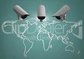 Composite Image of Security cameras on map against a green background