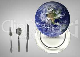 Composite image of a globe on a plate next to kitchen utensils against a grey background