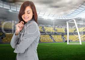 Woman Manager at Sport Stadium against a food stadium background