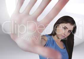 Composite image of Hand woman perspective against a neutral white background