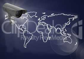 Composite Image of a Security camera against a dark purple map background