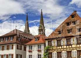 Saints-Pierre-et-Paul church towers in Obernai, France