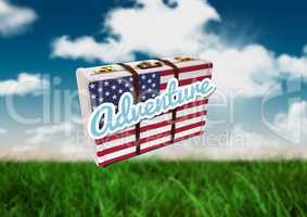 American Flag Luggage against field and sky background