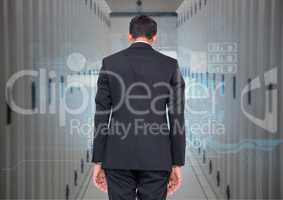 Composite image of Back view of a Businessnan Standing looking at Graphic