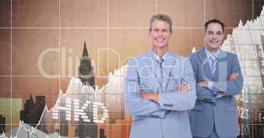 Businessmen Standing in front of Graph against neutral city background