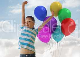 Composite image of Girl having fun with balloons against a sky background