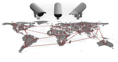 Composite Image of a Security cameras against a white and grey map background