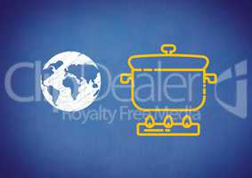 Composite image of cooking pot with world globe against blue background