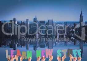 Digital composite image of hands holding learn new stuff cutouts