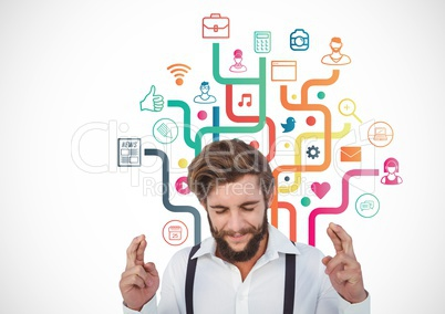 Man keeping finger crossed and application icons at bacground