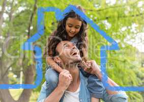 Cheerful father giving piggyback ride to her daughter against house outline