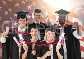 Friends showing their degree against USA flag in background