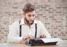 Retro style man using a typewriter