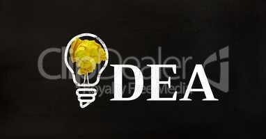 Crumpled paper on light bulb shape against black background