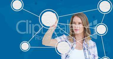 Woman touching digitally generated molecular structure