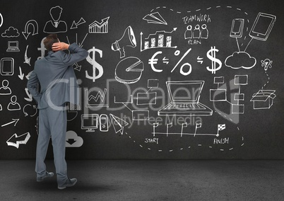 Digitally generated image of business professional looking at the blackboard