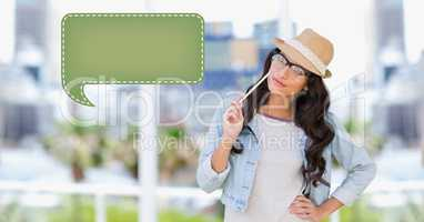 Woman looking at speech bubble icon