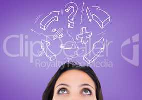 Confused woman with exclamation mark, arrow sign and question mark against purple background