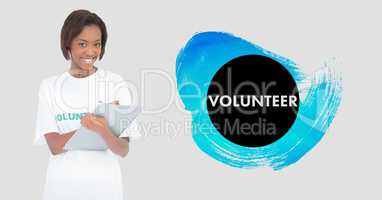 Volunteer holding clipboard against white background
