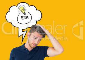 Confused man with thought bubble of idea text and light bulb