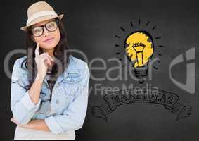 Girl in spectacles with finger on chin against background with bulb and make ideas in text