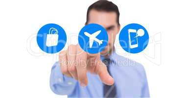 Man pretending to touch airplane mode icon against white background