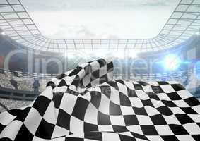 Checkered flag waving in stadium